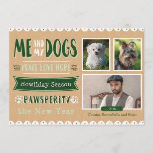 Me And My Dogs 5x7 Christmas Card 3 Photos Zazzle Com