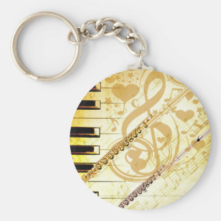 Me and my Flutes_ Basic Round Button Keychain