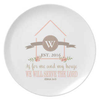 Me and my house, scripture, family initial dinner plate