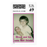 me and my sis, Chuck and his new Best Friend Postage Stamp