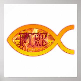 Me ardo para Cristo - símbolo cristiano de los pes Posters