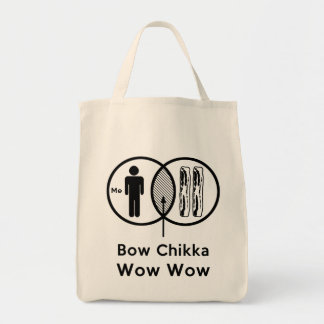 Me + Bacon = Bow Chikka Wow Wow Grocery Tote Bag