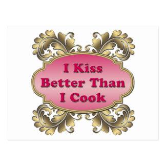 Me beso mejor que cocino postal
