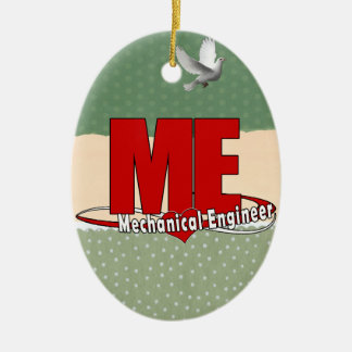 ME BIG RED LOGO MECHANICAL ENGINEER Double-Sided OVAL CERAMIC CHRISTMAS ORNAMENT