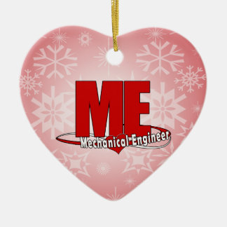 ME BIG RED LOGO MECHANICAL ENGINEER Double-Sided HEART CERAMIC CHRISTMAS ORNAMENT