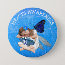ME/CFS Angel Fairy Girl Awareness Ribbon Button
