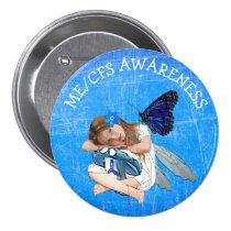 ME/CFS Angel Fairy Girl Awareness Ribbon Button