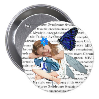 ME/CFS Angel Fairy Girl Awareness Ribbon Pinback Button