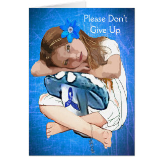 ME/CFS  Blue Awareness Ribbon and Girl Card