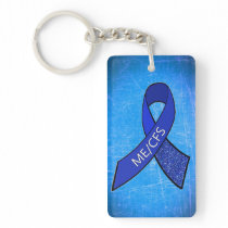 ME/CFS Chronic Fatigue Blue Ribbon Keychain