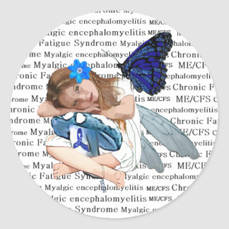 ME/CFS Chronic Fatigue Little Girl Angel Fairy Classic Round Sticker