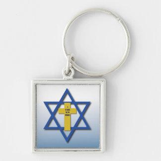 Me coloco con el cristiano de Israel y judío Llavero Cuadrado Plateado