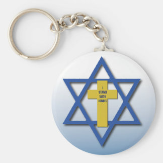 Me coloco con el cristiano de Israel y judío Llavero Redondo Tipo Pin