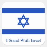 Me coloco con Israel Calcomanía Cuadradas Personalizada