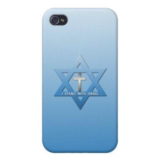 Me coloco con la cruz del cristiano de Israel iPhone 4 Carcasa