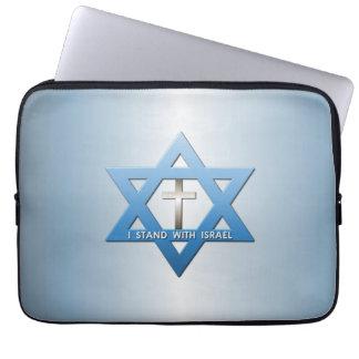 Me coloco con la estrella cruzada cristiana de funda portátil