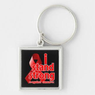 Me coloco fuerte contra cáncer de sangre llavero cuadrado plateado
