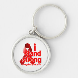 Me coloco fuerte contra cáncer de sangre llavero redondo plateado