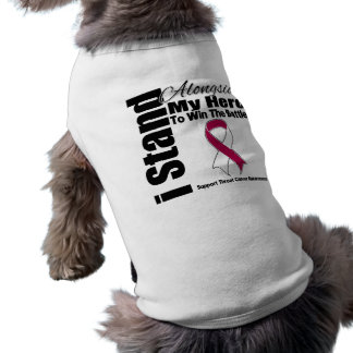 Me coloco junto a mi cáncer de garganta del héroe playera sin mangas para perro