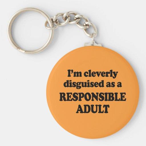 Me disfrazan listo como adulto responsable - llavero redondo tipo pin