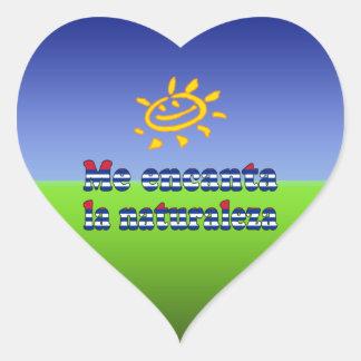Me Encanta la Naturaleza - I Love Nature in Cuban Heart Sticker