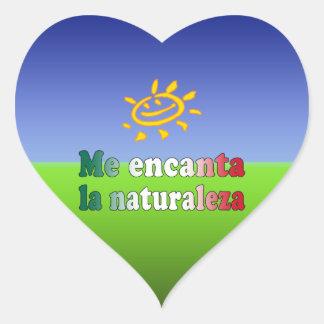 Me Encanta La Naturaleza I Love Nature in Mexican Heart Sticker