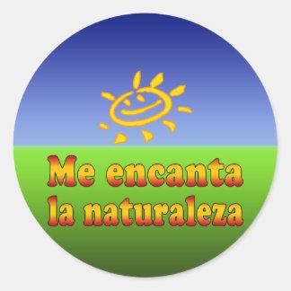 Me encanta la naturaleza I Love Nature in Spanish Classic Round Sticker