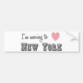 Me estoy trasladando a Nueva York Pegatina Para Auto