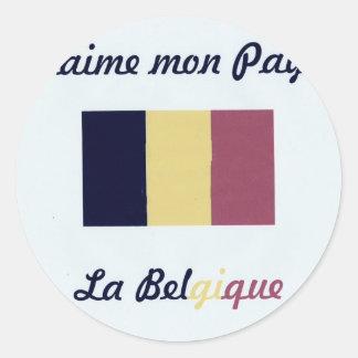 Me gusta a Belgique jpg Pegatina Redonda