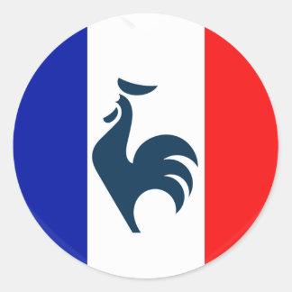 Me gusta a gallo bandera Francia Pegatina Redonda