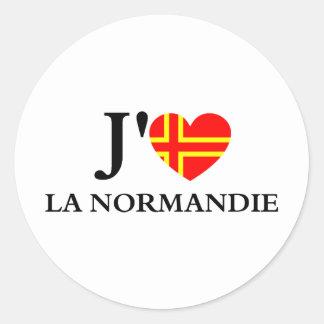 Me gusta a Normandía Pegatina Redonda