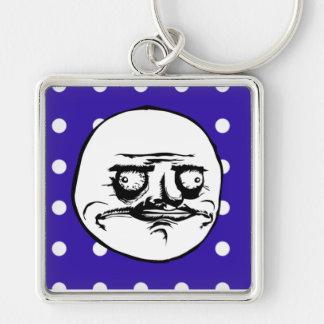 """""""Me Gusta"""" Cute Blue Polka Dot Keychain"""