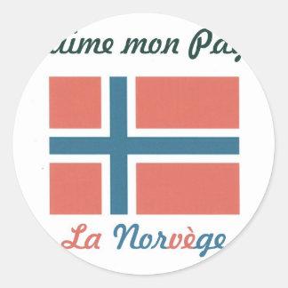 Me gusta el Norvège jpg Pegatinas Redondas
