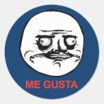 Me Gusta Face Meme Classic Round Sticker