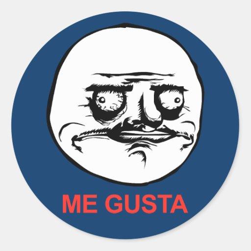 Me Gusta Face Meme Classic Round Sticker | Zazzle