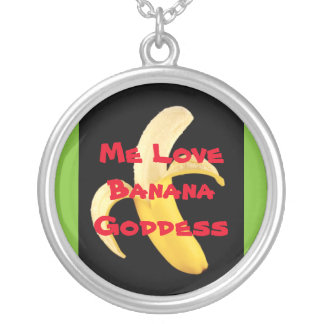 Me Love Banana Goddess Silver Plated Necklace