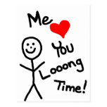 Me Loves You Stick Person Cartoon Postcard
