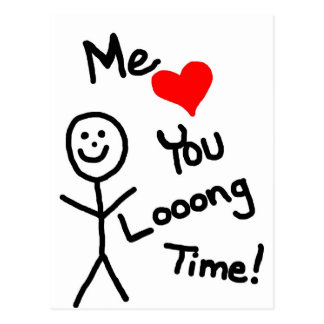 Me Loves You Stick Person Cartoon Postcard