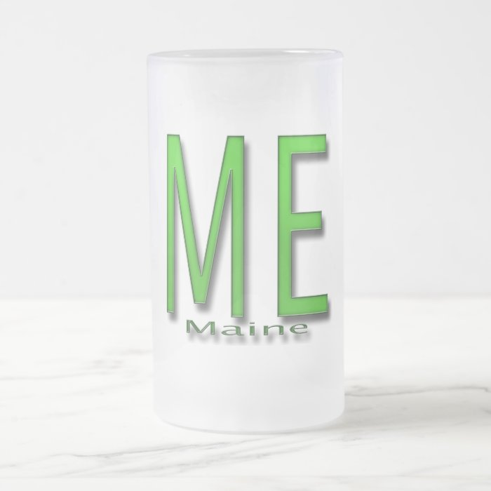 ME Maine green Frosted Glass Beer Mug