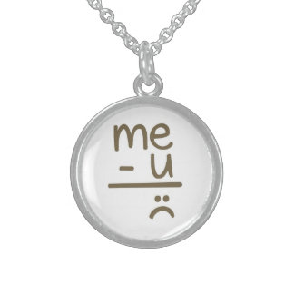Me Minus You Equals Sad Face Smiley Necklace