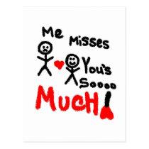 Me Misses You's Stick People Postcard