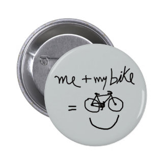 me & my bike = happiness pinback button