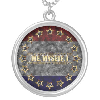Me, Myself, I Stars and Stripes Round Pendant Necklace