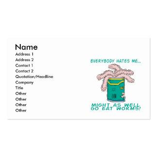 me odia comen gusanos tarjetas de visita