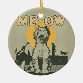 Me-ow Double-Sided Ceramic Round Christmas Ornament