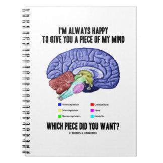 Me plazco siempre darle un pedazo de mi mente libreta