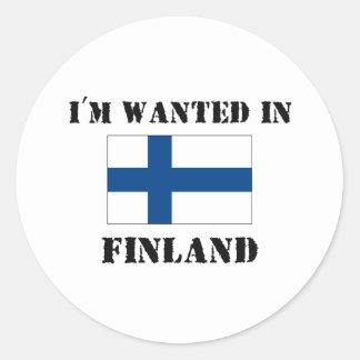 Me quieren en Finlandia Etiqueta Redonda