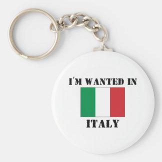 Me quieren en Italia Llavero Redondo Tipo Pin