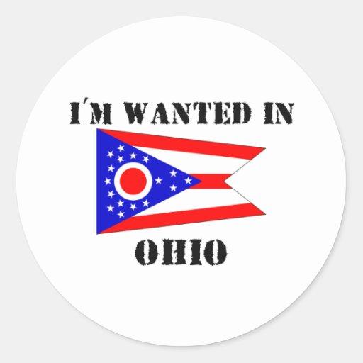 Me quieren en Ohio Pegatina Redonda
