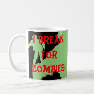 Me rompo para las siluetas verdes de los zombis taza básica blanca